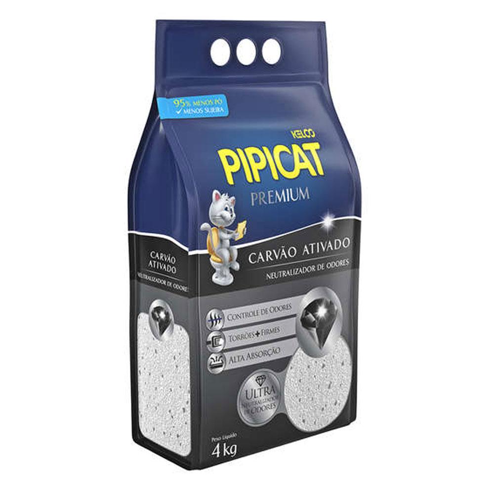 Areia Sanitária Pipicat Premium Carvão Ativado - 4Kg