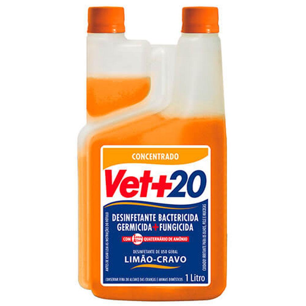 Desinfetante Bactericida Vet+20 Concentrado Limão e Cravo - 1L