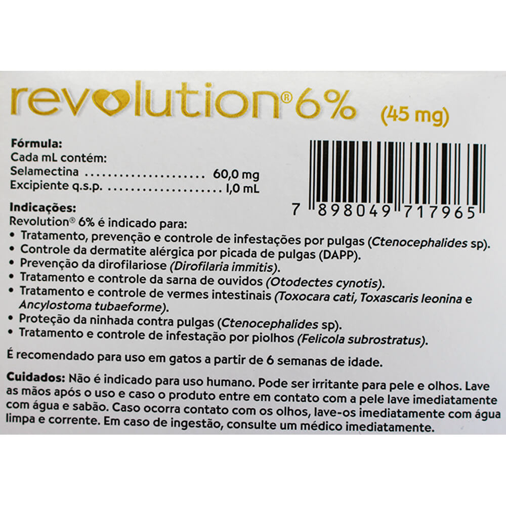 Revolution Anti Pulgas para Gatos entre 2,6kg e 7,5kg - 45mg