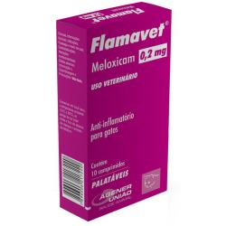 Anti-inflamatório Agener União Flamavet para Gatos 0,2mg - 10 Comprimidos